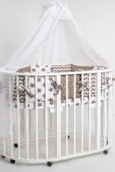 Набор в круглую кроватку Звезда кофе 23 предмета